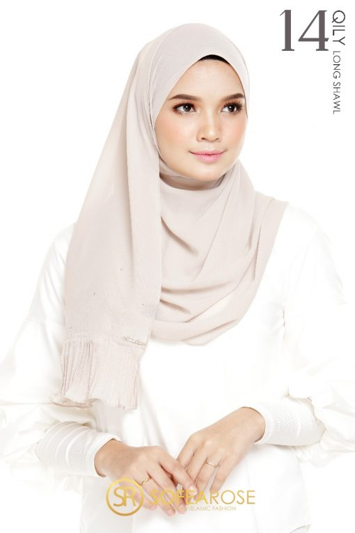 QILY PLEATED LONG SHAWL 14 - CHAMPAGNE PINK