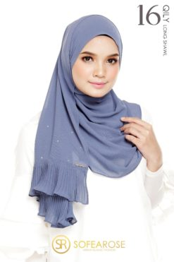 QILY PLEATED LONG SHAWL 16 - INDIGO